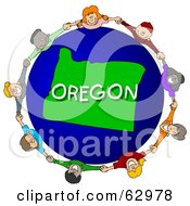 Royalty Free RF Clipart Illustration Of Children Holding Hands In A Circle Around An Oregon Globe by djart