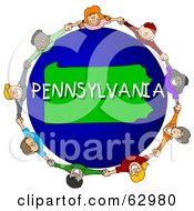 Royalty Free RF Clipart Illustration Of Children Holding Hands In A Circle Around A Pennsylvania Globe by djart