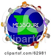 Royalty Free RF Clipart Illustration Of Children Holding Hands In A Circle Around A Missouri Globe by djart