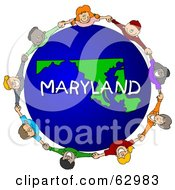 Royalty Free RF Clipart Illustration Of Children Holding Hands In A Circle Around A Maryland Globe by djart