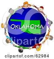 Royalty Free RF Clipart Illustration Of Children Holding Hands In A Circle Around An Oklahoma Globe by djart