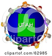 Royalty Free RF Clipart Illustration Of Children Holding Hands In A Circle Around A Utah Globe