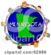 Royalty Free RF Clipart Illustration Of Children Holding Hands In A Circle Around A Minnesota Globe by djart
