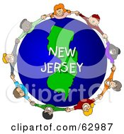 Royalty Free RF Clipart Illustration Of Children Holding Hands In A Circle Around A New Jersey Globe by djart