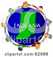 Royalty Free RF Clipart Illustration Of Children Holding Hands In A Circle Around An Indiana Globe by djart