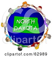 Royalty Free RF Clipart Illustration Of Children Holding Hands In A Circle Around A North Dakota Globe