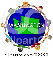 Royalty Free RF Clipart Illustration Of Children Holding Hands In A Circle Around A Washington Globe by djart