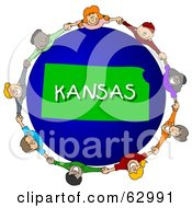 Royalty Free RF Clipart Illustration Of Children Holding Hands In A Circle Around A Kansas Globe