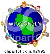 Children Holding Hands In A Circle Around A Wisconsin Globe