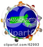 Royalty Free RF Clipart Illustration Of Children Holding Hands In A Circle Around A Massachusetts Globe by djart