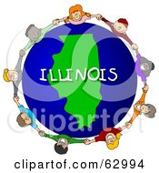 Royalty Free RF Clipart Illustration Of Children Holding Hands In A Circle Around An Illinois Globe by djart