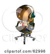 Royalty Free RF Clipart Illustration Of A Pete Man Character Sitting In A Chair And Wearing Headphones by AtStockIllustration