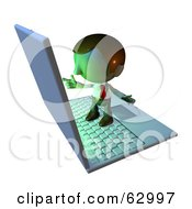 Royalty Free RF Clipart Illustration Of A Pete Man Character Standing On A Laptop And Pointing At The Screen by AtStockIllustration