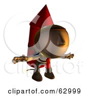 Royalty Free RF Clipart Illustration Of A Pete Man Character Prepared To Take Off While Strapped To A Rocket by AtStockIllustration