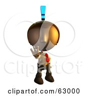 Royalty Free RF Clipart Illustration Of A Pete Man Character Holding Out His Hand With An Exclamation Point Above His Head by AtStockIllustration
