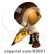 Royalty Free RF Clipart Illustration Of A Pete Man Character Writing With A Pencil by AtStockIllustration
