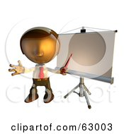 Pete Man Character Standing In Front Of A Presentation Board