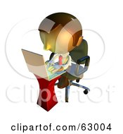 Royalty Free RF Clipart Illustration Of A Pete Man Character Typing On A Laptop by AtStockIllustration