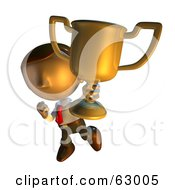 Pete Man Character Showing Off His Trophy Cup