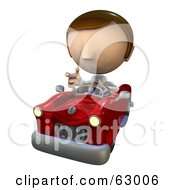 Royalty Free RF Clipart Illustration Of A Pete Man Character With Road Rage Driving A Convertible Car by AtStockIllustration