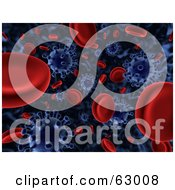3d Background Of Floating Blue Viruses Attacking Red Blood Cells
