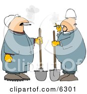 Two Workers Smoking Cigarettes While Holding Shovels Clipart Picture