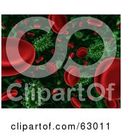3d Background Of Floating Green Viruses Attacking Red Blood Cells