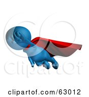 Royalty Free RF Clipart Illustration Of A 3d Blue Superhero Flying With His Fist Held Out