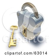 3d Golden Skeleton Key In Front Of A Shiny Padlock
