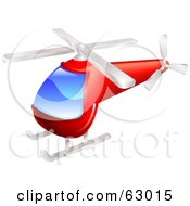 Royalty Free RF Clipart Illustration Of A Red Helicopter With A Big Blue Window