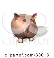 Royalty Free RF Clipart Illustration Of A Pink 3d Piggy Bank With His Snout Facing Front