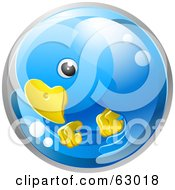 Royalty Free RF Clipart Illustration Of A 3d Blue Circling Bird In A Bubble by AtStockIllustration