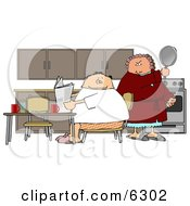 Angry Wife Preparing To Hit Her Lazy Husband With A Cooking Pan Clipart Picture