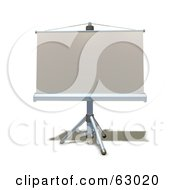 Royalty Free RF Clipart Illustration Of A 3d Roll Down Projection Screen On A Tripod