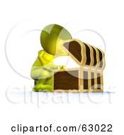 Royalty Free RF Clipart Illustration Of A 3d Green Man Opening Up A Treasure Chest by AtStockIllustration