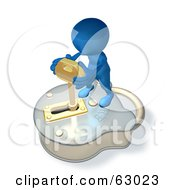3d Blue Guy Standing On A Big Padlock And Turning A Key