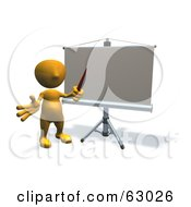 Royalty Free RF Clipart Illustration Of A 3d Orange Guy Holding A Pointer In Front Of A Board