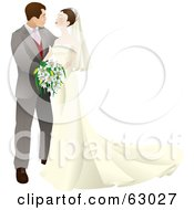 Royalty Free RF Clipart Illustration Of A Happy Wedding Couple Embracing And Gazing At Each Other by AtStockIllustration