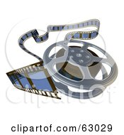 Royalty Free RF Clipart Illustration Of A Messy 3d Rendered Film Reel On White by AtStockIllustration