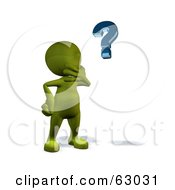 Royalty Free RF Clipart Illustration Of A 3d Green Man Pondering And Looking At A Question Mark by AtStockIllustration