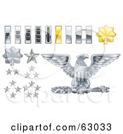 Digital Collage Of Gray And Yellow Military American Army Officer Ranks Insignia Icons