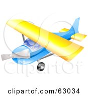 Royalty Free RF Clipart Illustration Of A 3d Blue And Yellow Airplane In Flight