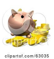 Royalty Free RF Clipart Illustration Of A 3d Pig Bank With Golden Goins