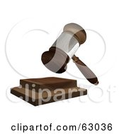 Royalty Free RF Clipart Illustration Of A 3d Wooden Judges Gavel Hitting The Block by AtStockIllustration