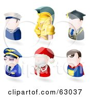 Royalty Free RF Clipart Illustration Of A Digital Collage Of Six Avatar People Sailor Spartan Teacher Pilot Santa And A Superhero