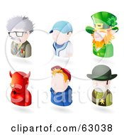 Royalty Free RF Clipart Illustration Of A Digital Collage Of Six Avatar People Scientist Baseball Player Leprechaun Devil Teenage Boy And A Sheriff