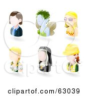 Royalty Free RF Clipart Illustration Of A Digital Collage Of Six Avatar People Business Woman Fairy Bikini Girl German Waitress Nun And Female Engineer by AtStockIllustration