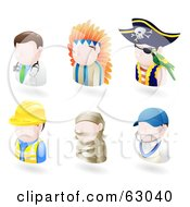 Royalty Free RF Clipart Illustration Of A Digital Collage Of Six Avatar People Doctor Native American Pirate Contractor Mummy And A Cricket Player