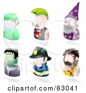 Royalty Free RF Clipart Illustration Of A Digital Collage Of Six Avatar People Surgeon Punk Wizard Frankenstein Firefighter And A Caveman by AtStockIllustration