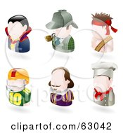 Royalty Free RF Clipart Illustration Of A Digital Collage Of Six Avatar People Vampire Sherlock Holmes Rambo American Football Player Shakespear And A Chef by AtStockIllustration